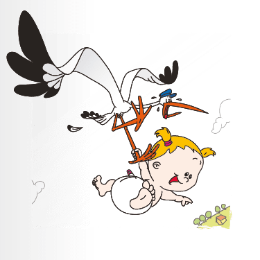 Geboortekaart geboortekaart ooievaar-baby-meisje-1f eenluik
