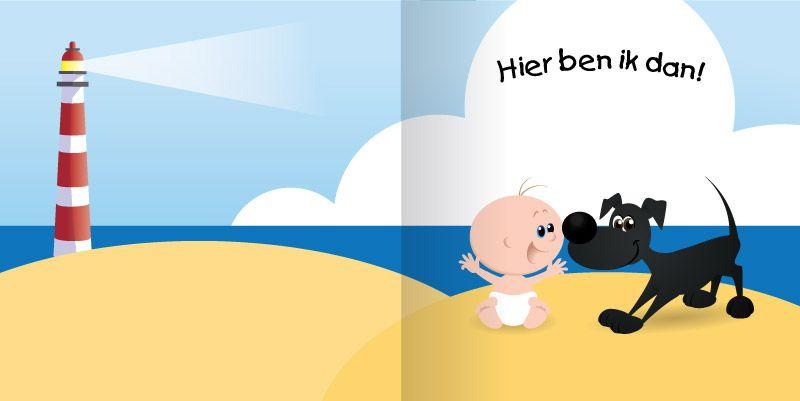 geboortekaartje met hond op het strand