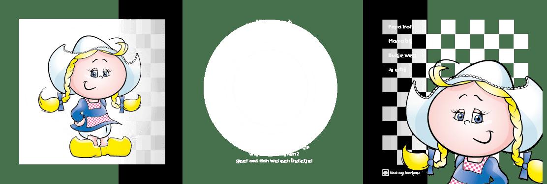 Geboortekaart geboortekaartje boerin-bont-3 drieluik