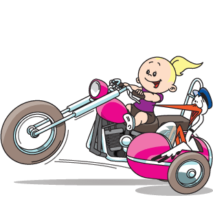 Baby en ooievaar op de motor