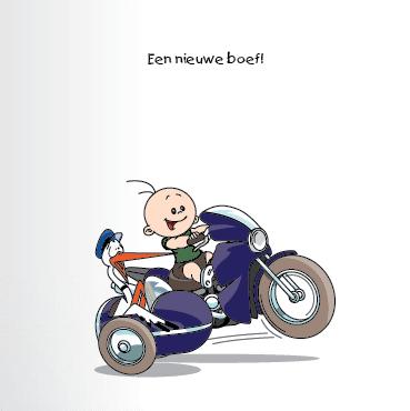 Geboortekaart race motor jongen bekeuring 1f eenluik
