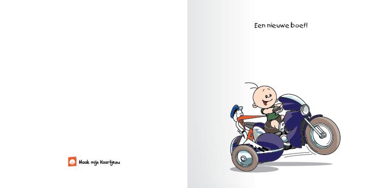 Geboortekaart race motor jongen bekeuring 2o tweeluik