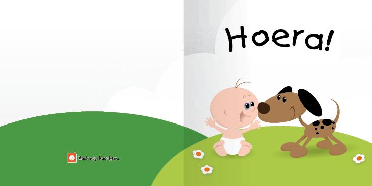 Geboortekaart geboortekaart hond-buiten-2o tweeluik