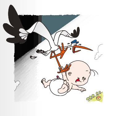 Geboortekaart geboortekaart ooievaar-baby-jongen-1f eenluik
