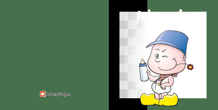 Geboortekaart geboortekaartje boer bont-n2o tweeluik