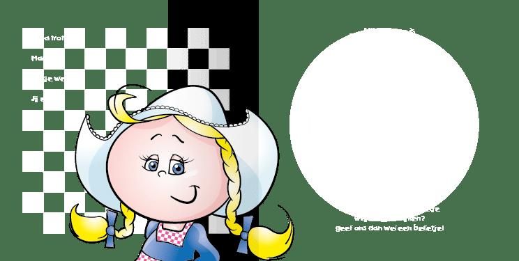 Geboortekaart geboortekaartje boerin-bont-2i tweeluik