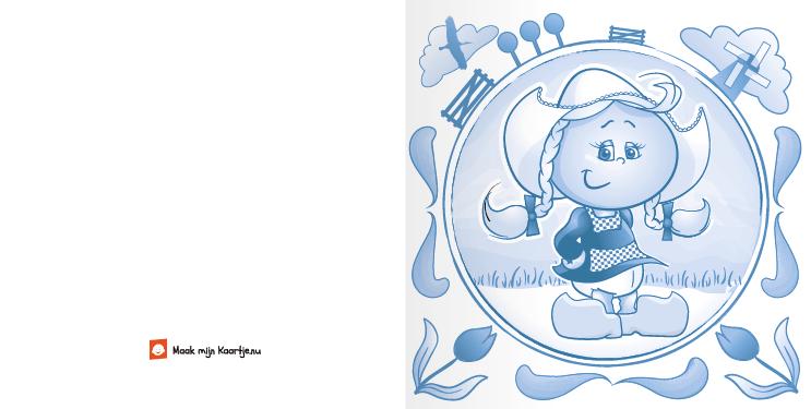 Geboortekaart geboortekaartje boerin delftsblauw-2o tweeluik