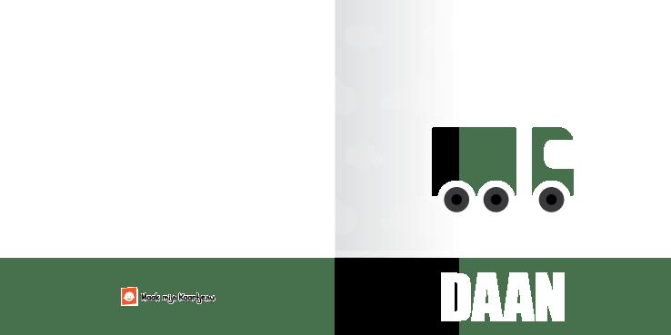 Geboortekaart geboortekaartje vrachtwagen-tweeluik-buiten tweeluik