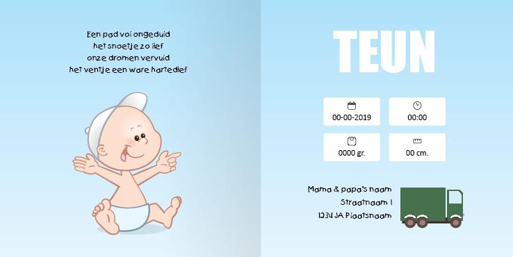 Geboortekaart geboortekaartje vrachtwagen jongen2 2i tweeluik