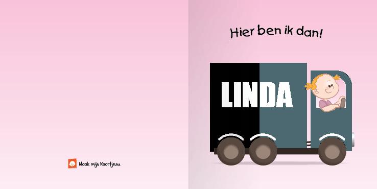 Geboortekaart geboortekaartje vrachtwagen meisje2 2o tweeluik