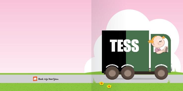 Geboortekaart geboortekaartje vrachtwagen meisje 2o tweeluik