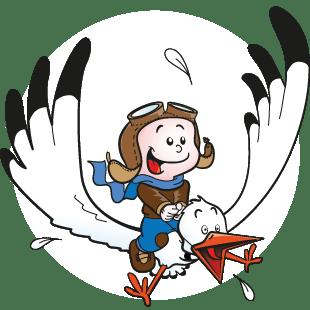 Baby op vliegende ooievaar