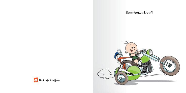 Geboortekaart motor jongen bekeuring 2o tweeluik