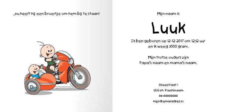 Geboortekaart race motor jongen broertje 2i tweeluik