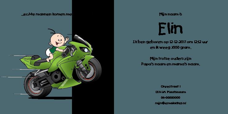 Geboortekaart race motor jongen race ooievaar 2i tweeluik