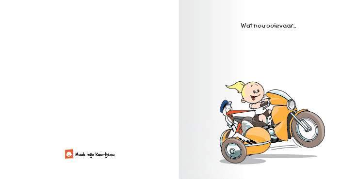 Geboortekaart race motor meisje echte meid 2o tweeluik