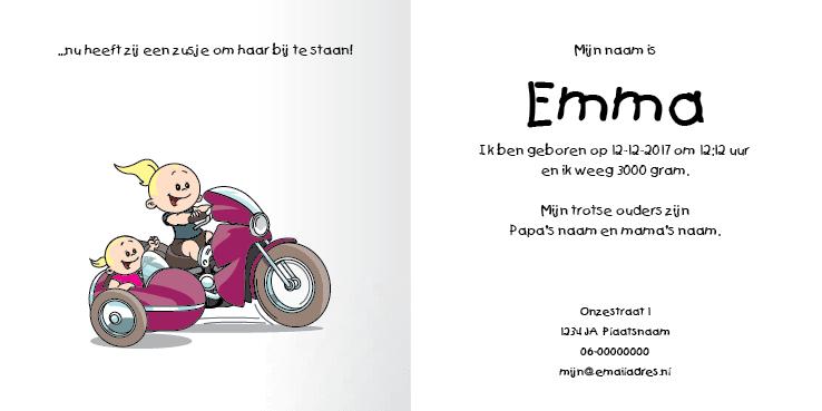 Geboortekaart race motor meisje zusje 2i tweeluik